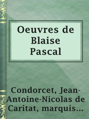 cover image of Oeuvres de Blaise Pascal