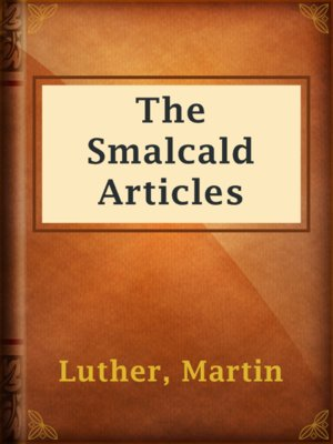 cover image of The Smalcald Articles