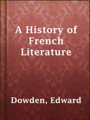 cover image of A History of French Literature