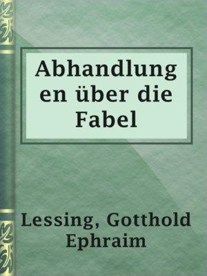 cover image of Abhandlungen über die Fabel
