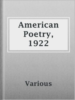 cover image of American Poetry, 1922