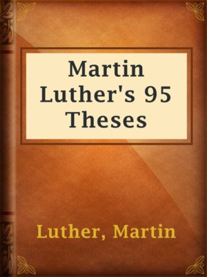 cover image of Martin Luther's 95 Theses
