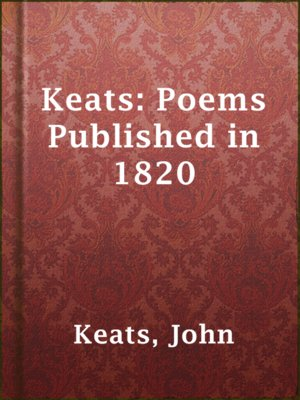 cover image of Keats: Poems Published in 1820