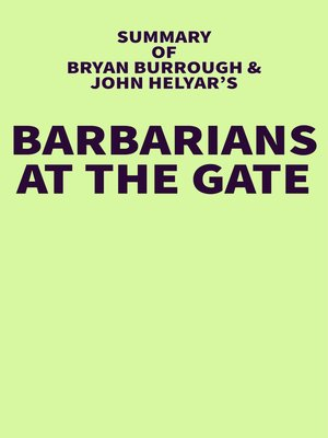 cover image of Summary of Bryan Burrough and John Helyar's Barbarians at the Gate