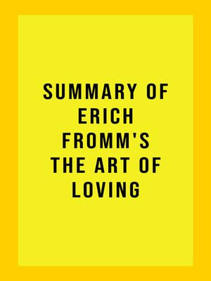cover image of Summary of Erich Fromm's the Art of Loving