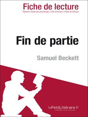 cover image of Fin de partie de Samuel Beckett (Fiche de lecture)