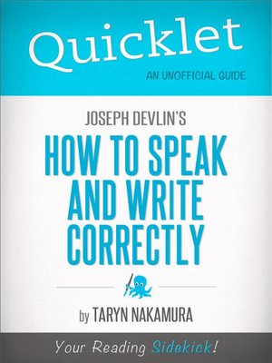 cover image of Quicklet on Joseph Devlin's How to Speak and Write Correctly