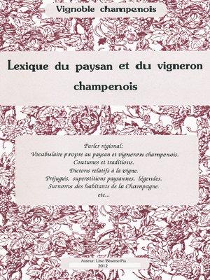 cover image of Lexique du paysan et du vigneron champenois