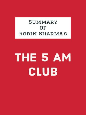 cover image of Summary of Robin Sharma's the 5 AM Club