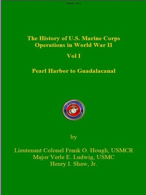 cover image of The History of Us Marine Corps Operation in WWII Volume I