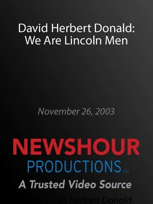 cover image of David Herbert Donald: We Are Lincoln Men