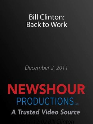 cover image of Bill Clinton: Back to Work