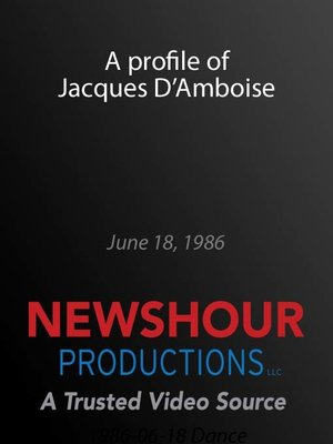 cover image of A profile of Jacques D'Amboise