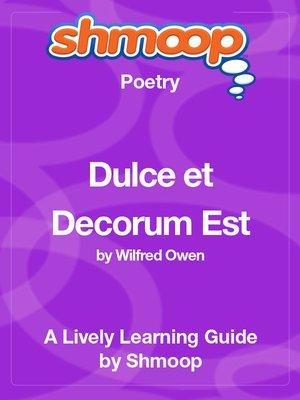 cover image of Dulce et Decorum Est