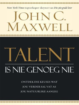 cover image of Talent is nie genoeg nie