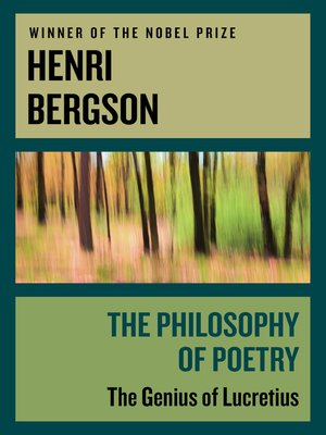 cover image of The Philosophy of Poetry