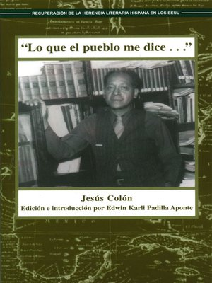 """cover image of """"Lo que el pueblo me dice..."""""""