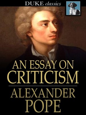 cover image of An Essay on Criticism