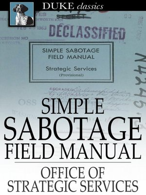 cover image of Simple Sabotage Field Manual