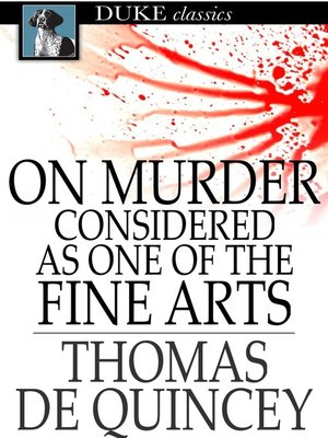 cover image of On Murder Considered as One of the Fine Arts