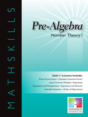 cover image of Pre-Algebra: Number Theory 1