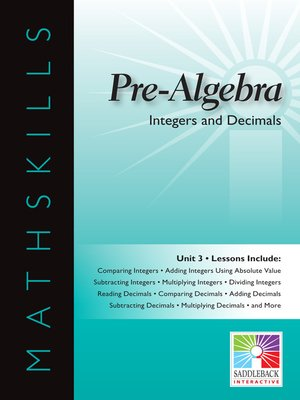 cover image of Pre-Algebra: Integers and Decimals