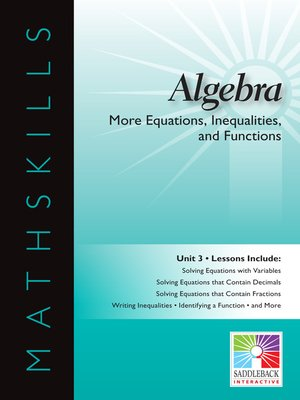 cover image of Algebra 1: More Equations, Inequalities, and Functions