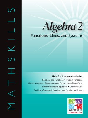 cover image of Algebra 2: Functions, Lines, and Systems