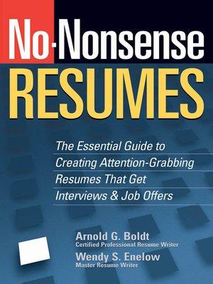 cover image of No-Nonsense Resumes