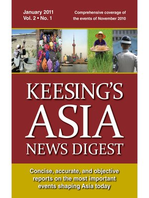 cover image of Keesing's Asia News Digest, January 2011