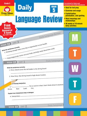 cover image of Daily Language Review, Grade 5