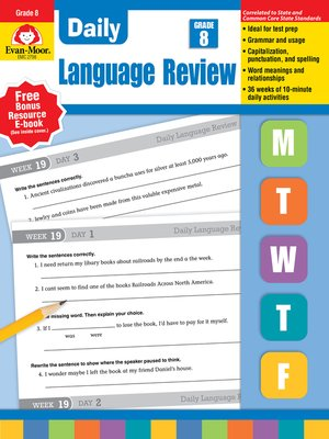 cover image of Daily Language Review, Grade 8