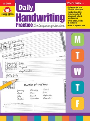 cover image of Contemporary Cursive, Grades K-6