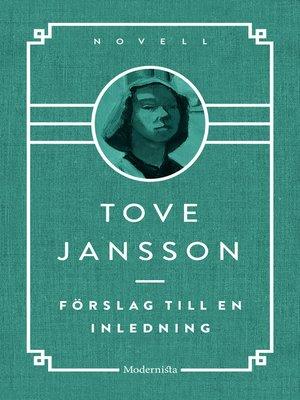 cover image of Förslag till en inledning