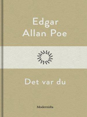 cover image of Det var du