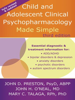 cover image of Child and Adolescent Clinical Psychopharmacology Made Simple