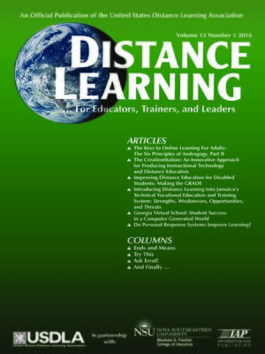 cover image of Distance Learning, Volume 13, Number 1