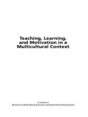 cover image of Teaching, Learning, and Motivation in a Multicultural Context