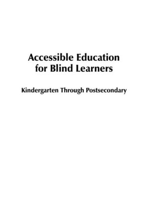 cover image of Accessible Education for Blind Learners