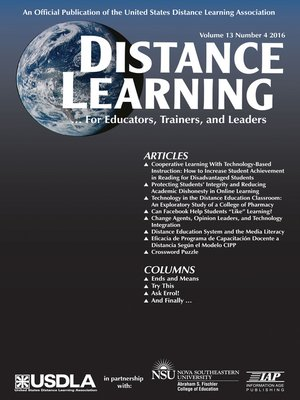 cover image of Distance Learning, Volume 13, Issue 4