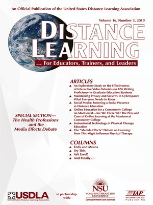 cover image of Distance Learning, Volume 16, Number 3