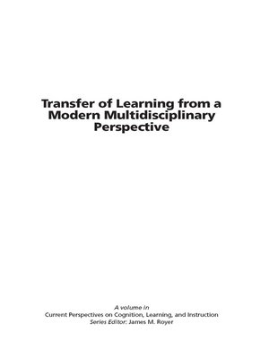 cover image of Transfer of Learning from a Modern Multidisciplinary Perspective