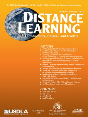 cover image of Distance Learning, Volume 15, Number 2