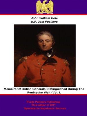 cover image of Memoirs of British Generals Distinguished During the Peninsular War, Volume 1