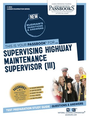 cover image of Supervising Highway Maintenance Supervisor (III)