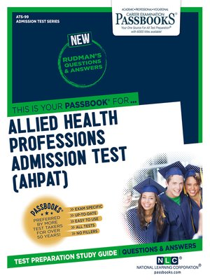 cover image of ALLIED HEALTH PROFESSIONS ADMISSION TEST (AHPAT)