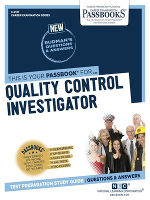cover image of Quality Control Investigator