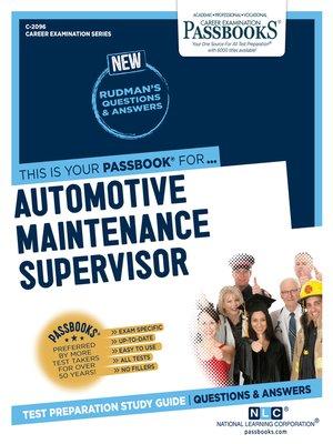 cover image of Automotive Maintenance Supervisor