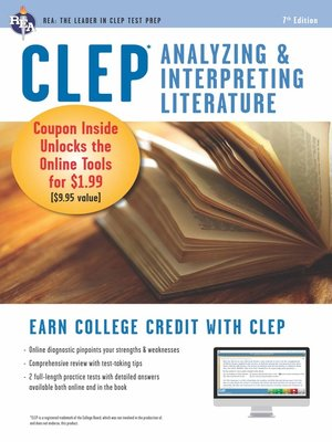 cover image of CLEP Analyzing & Interpreting Literature Book + Online