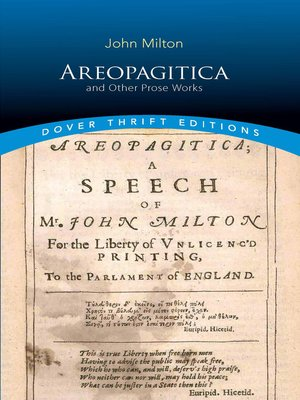 cover image of Areopagitica and Other Prose Works